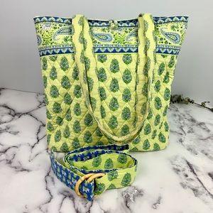 Vera Bradley Citrus Elephant Tote Bag and Belt Set